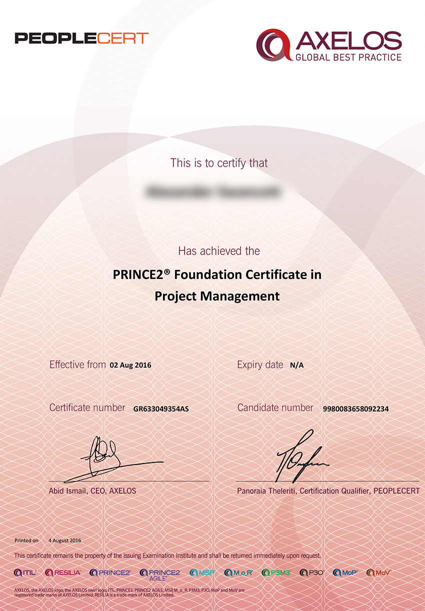 PRINCE2 Foundation Certificate